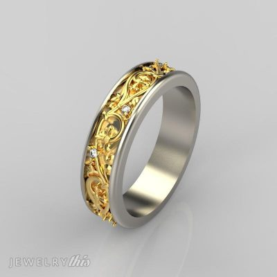 3D CAD model of fashion ring with accent stones