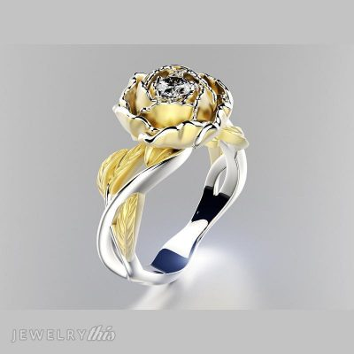 3D CAD model of ring with stone in center of the flower