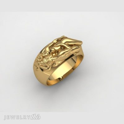 CAD model fashion ring of two lovers embracing