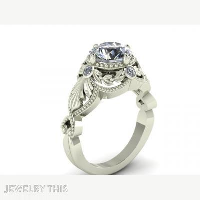 Intricate Antique Style With Vine Halo, Rings, Engagement