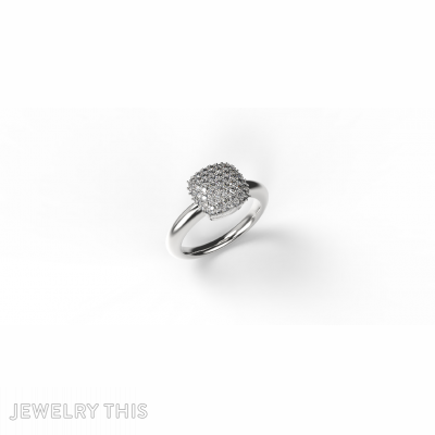 Cushion Shaped Pave Ring With Thick Shank, Rings, Cocktail