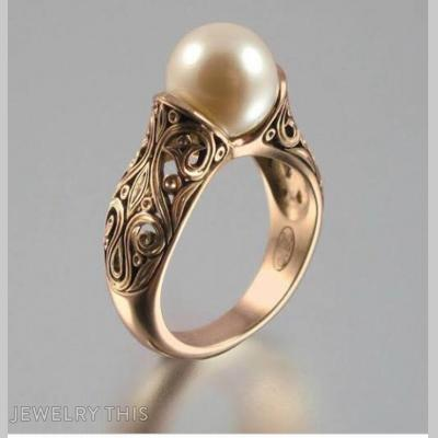 Pearl Cocktail Ring With Ornate Shank, Rings, Cocktail