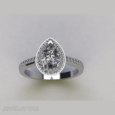 Pear Shape Diamond Pave Set Halo Engagement Ring, Rings, Engagement
