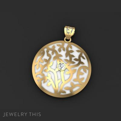 Vines And Round Leaves Pendant With Enamel Accent, Pendants, General