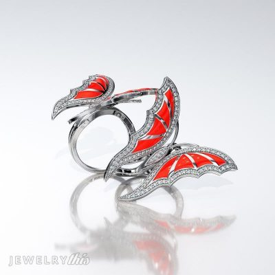 butterfly cocktail ring with enameling