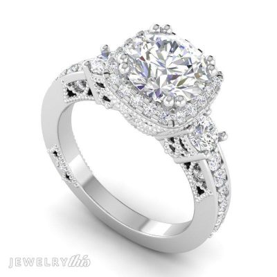 halo style engagement ring with milgrain styling and accent stones