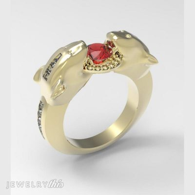 animal style fashion ring with accent stones in a channel setting