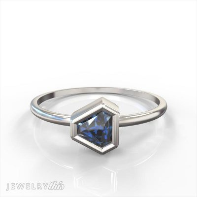 stackable ring with a modified triangle cut center stone