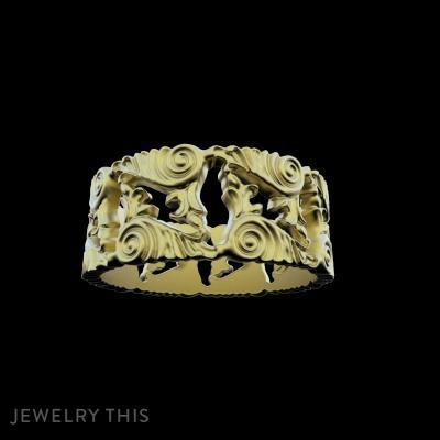 Baroque Ornaments Ring, Rings, Men's