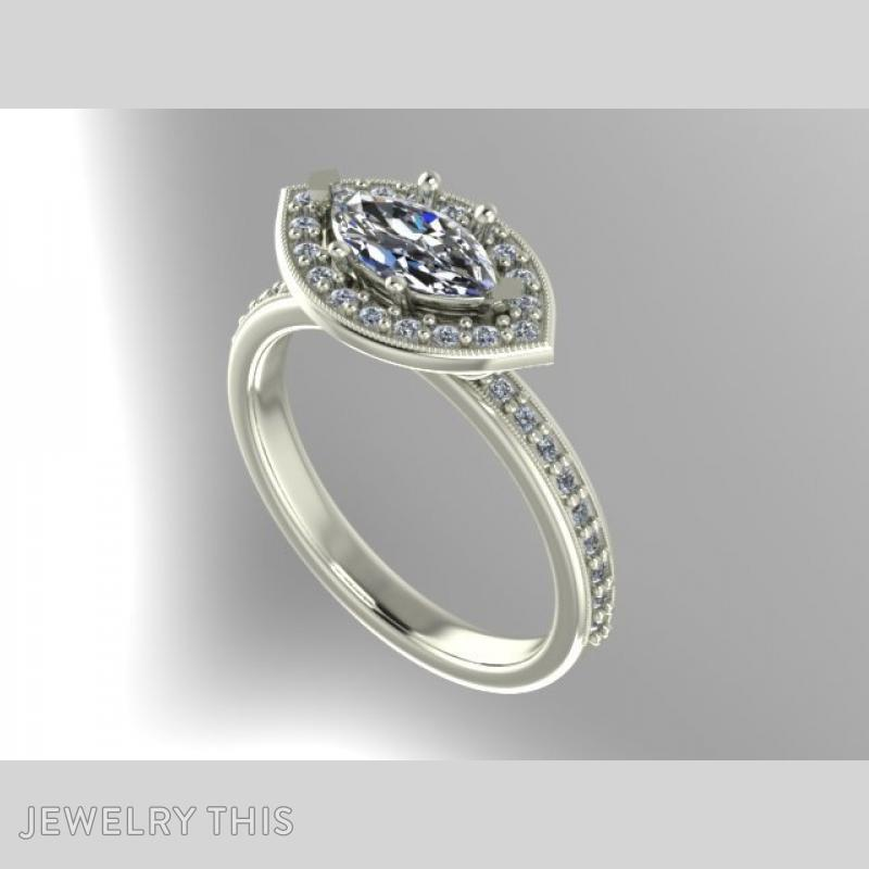 3D Jewelry Design: Marquise Halo Ring » Jewelrythis